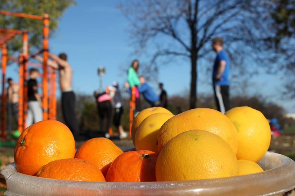 Freiluft Workout mit WIG und ISW Zitrusfrüchte aud Donauinsel