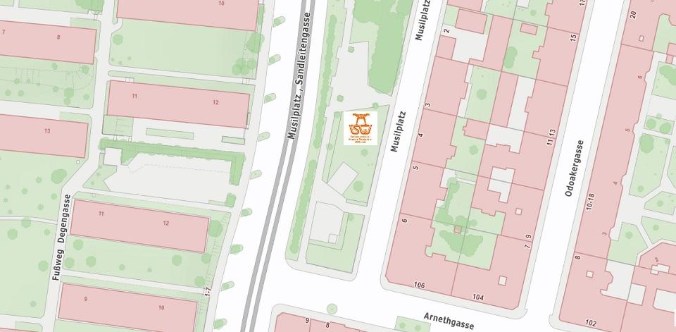 Stadtplan Wien - Musilplatz - Sportplatz für Street Workout und Calisthenics - ISW - Vienna Austria - Österreich Wien - Ottakring