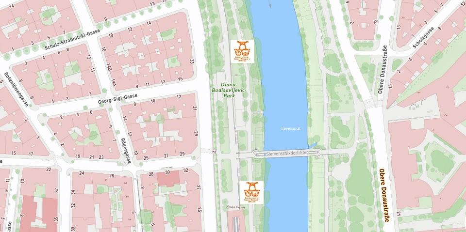 Stadtplan Wien - Roßauer Lände - Sportplatz für Street Workout und Calisthenics - ISW - Vienna Austria - Österreich Wien - Alsergrund