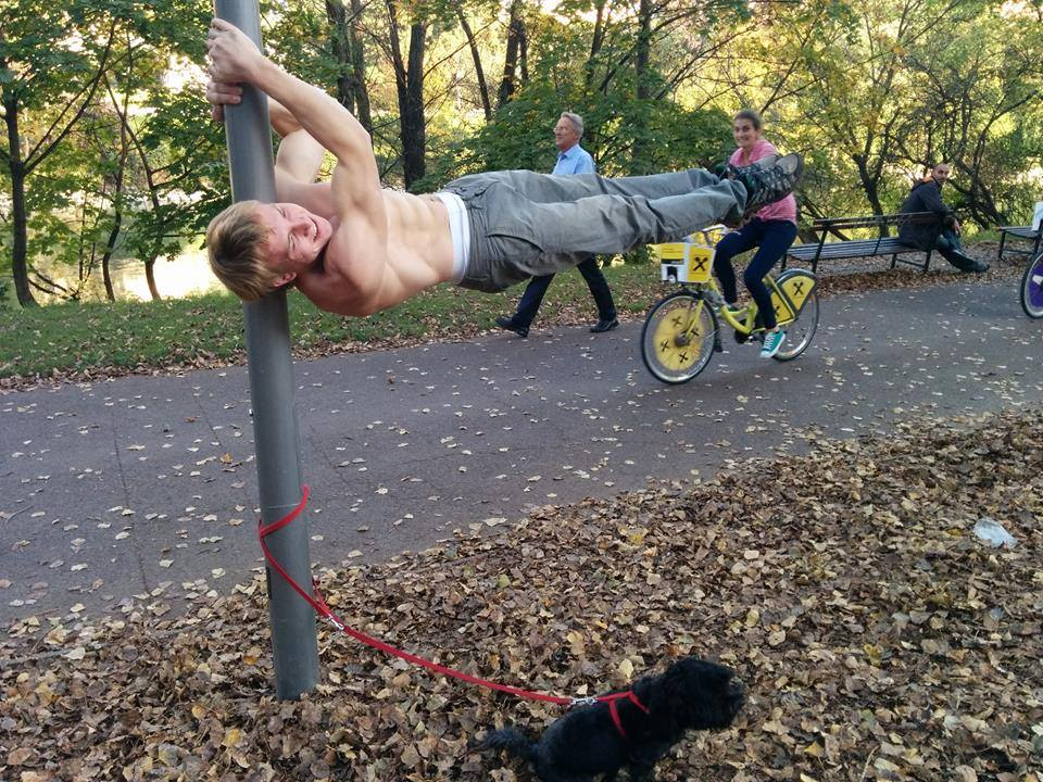 International Street Workout ISW - Roßauer Lände - Donaukanal - Training - Dragon Flag - Frühling mit Dog