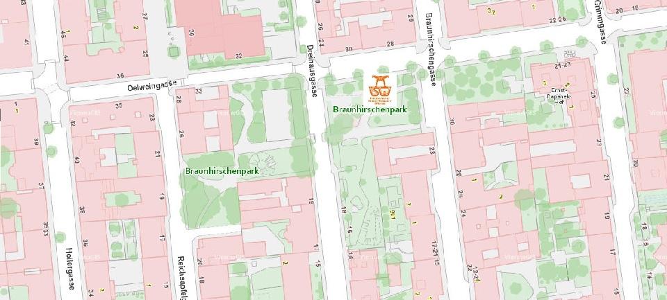 Stadtplan Wien - Braunhirschenpark - Sportplatz für Street Workout und Calisthenics - ISW - Vienna Austria - Österreich Wien - Rudolfsheim-Fünfhaus