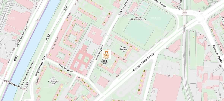 Stadtplan Wien - Franz-Koblizka - Trainingspark ISW - Vienna Austria - Österreich Wien Brigittenau