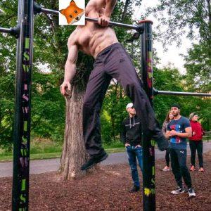 Gesundheitsprojekt ISW + FOX - Atem-Kraft-Workout mit Oleksii Odnolkin an Roßauer Lände Vienna Austria - One arm Muscle up